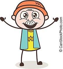 illustrazione, cartone animato, vettore, nonno, espressione, eccitato