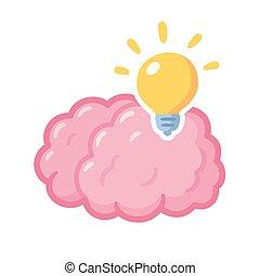 illustrazione, cervello, idea, lightbulb
