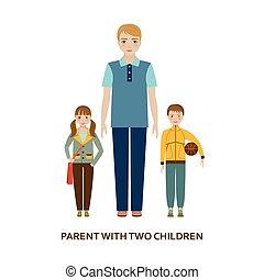 illustrazione, children., due, genitore, cartone animato