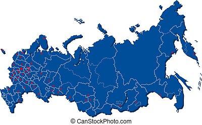 illustrazione, città, casato, programma russia, vettore