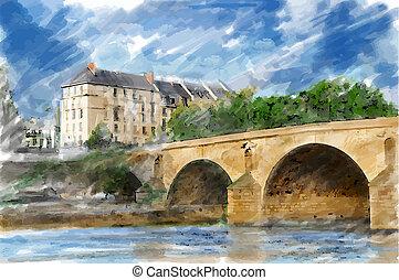 illustrazione, città, ponte