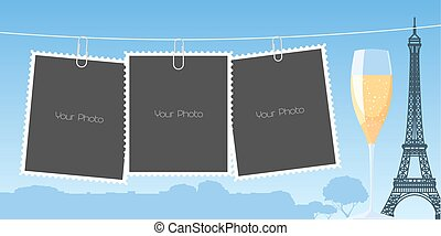 illustrazione, collage, cornici foto, vettore, fondo, album