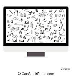 illustrazione computer, domanda, vettore, icons., mostra