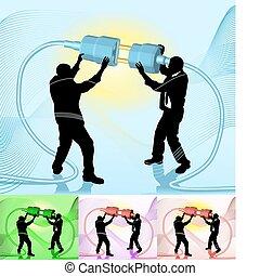 illustrazione, concetto, affari, collegare