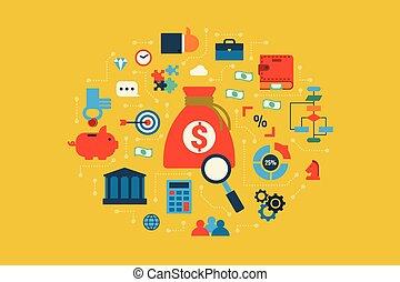 illustrazione, concetto, budget