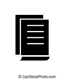 illustrazione, contratti, isolato, segno, vettore, sfondo nero, icona, documento