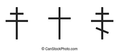 illustrazione, croci, vario, cross., bianco, cristiano, set, fondo, vettore