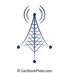 illustrazione, disegno, isolato, vettore, potere, icona, torretta radiofonica