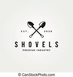 illustrazione, disegno, simbolo, pala, logotipo, vettore, croce, vendemmia