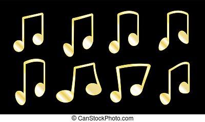 illustrazione, dorato, barre, set, grasso, aggrottare, note, linee, dentro, quando, giallo, musicale, icons., fondo, nero, collegare, 8, raggruppamento, vettore, o, costole