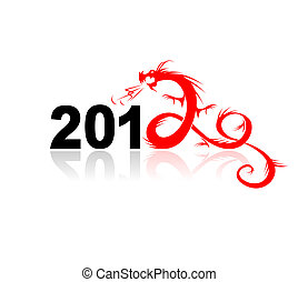 illustrazione, drago, disegno, anno, tuo, 2012