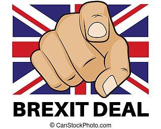 illustrazione, eu, pollici, -, vettore, affare, brexit, fatto, fondo, bianco