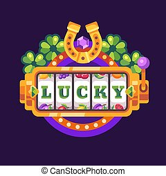 illustrazione, ferro cavallo, macchina, fortunato, slot, appartamento, fondo, viola, trifoglio