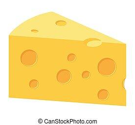 illustrazione, fetta, vettore, formaggio, cheddar