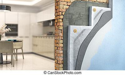 illustrazione, fondo, brickwall, 3d, styrofoam, interno, termico, isolamento, cucina