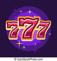 illustrazione, fondo., casinò, appartamento, 777, viola, simbolo