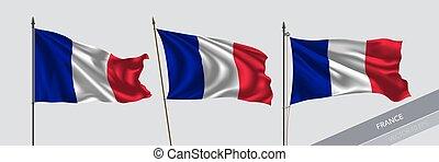illustrazione, fondo, isolato, vettore, ondeggiare, bandiera francia, set