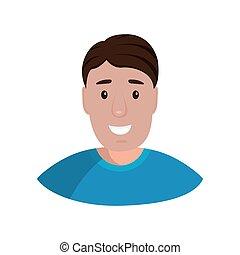illustrazione, fondo, portrait., bianco, vettore, disegno, isolato, appartamento, uomo, cartone animato