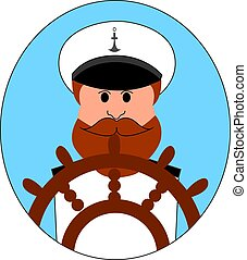 illustrazione, fondo., vettore, bianco, capitano, nave