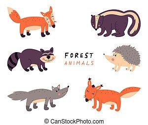 illustrazione, foresta, fondo., isolato, animals., bianco, vettore, collezione