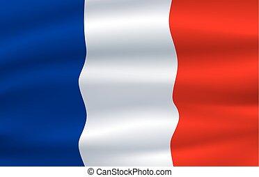 illustrazione, francia, bandierina ondeggiamento, vento, 3d