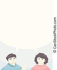 illustrazione, genitori, discorso, ragazza, bolla, uomo