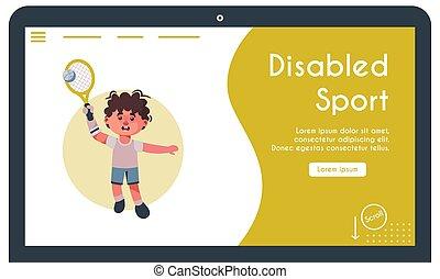 illustrazione, giocando tennis, vettore, bandiera, capretto, invalido