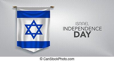 illustrazione, giorno, augurio, bandiera, vettore, scheda, israele, indipendenza