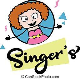 illustrazione, giovane signora, logotipo, mascotte