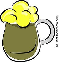 illustrazione, grande, fondo., birra, vettore, verde, vetro, bianco