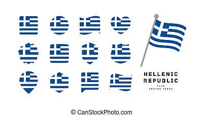 illustrazione, icona, vettore, grecia, set, bandiera