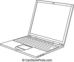 illustrazione, laptop, vettore, contorno