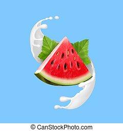 illustrazione, latte, realistico, vettore, anguria, yogurt, o, icona