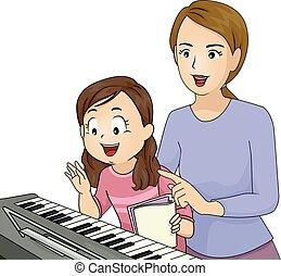 illustrazione, lezione, insegnante pianoforte, capretto, ragazza