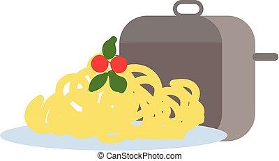 illustrazione, mano, fondo., vettore, disegnato, bianco, spaghetti, disegno
