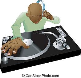 illustrazione, miscelazione, deejay