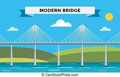 illustrazione, moderno, vettore, ponte