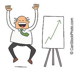 illustrazione, molto, vendite, così, vettore, felice, alto, capo, because, cartone animato