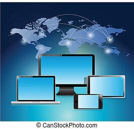 illustrazione, mondo, disegno, rete, elettronico