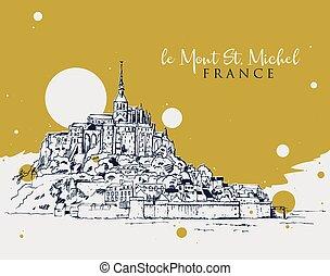illustrazione, mont santo michel, schizzo, disegno, le