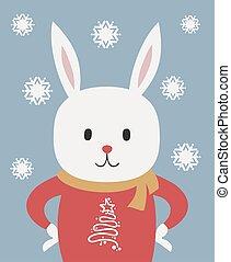 illustrazione, natale, coniglio