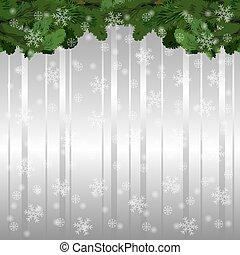 illustrazione, natale, vettore, fondo, abete, legno, branches.
