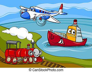 illustrazione, nave, treno, cartone animato, aereo