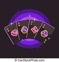 illustrazione, nero, fondo., carta da gioco, appartamento, viola, poker, rosa, assi, gemma, quattro, oro, simboli