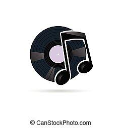 illustrazione, nota, disco, vettore, vinile, icona