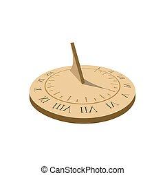 illustrazione, orologio, romano, antico, sundial., sole, vettore, numbers.