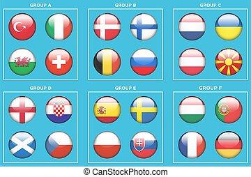illustrazione, palla, calcio, vettore, football, bandiera, o, nazione, isolato