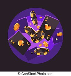 illustrazione, patatine fritte, flying., gioco, appartamento, monete, poker, fondo, viola, cartelle