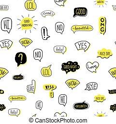 illustrazione, pattern., isolato, seamless, hand-drawn, vettore, discorso, white., bolla