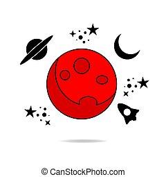 illustrazione, pianeta, solare, vettore, rosso, system., marte, planet.